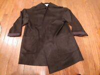 Womens Carmen Marc Valvo Black Open Cardigan Size L Sweater