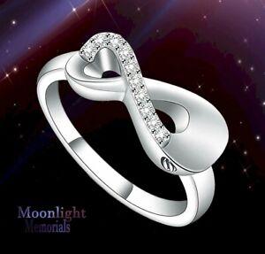 New Crystal Infinity Forever Cremation Ash Urn Memorial Keepsake Ring