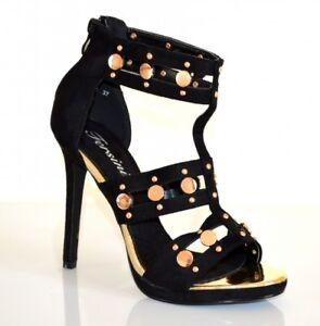 SANDALES NOIRS OR femme décolleté talon haut plateau chaussures élégant chic E6