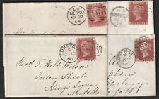 GB Four(4) QV 1d Penny Red Covers.
