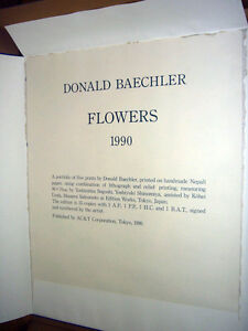 """Donald Baechler """"The Set of FLOWERS"""" Original Lithograph & Relief Printing S/N"""