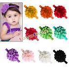 Hot Cute Chiffon Solid Flower Kids Baby Girl Headband Hair Band Bow Accessories