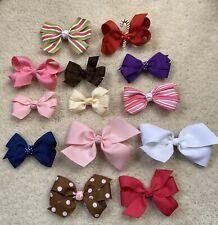 Lot 13 piece Hair Clips Bows Girls Infant Toddler Handmade Euc