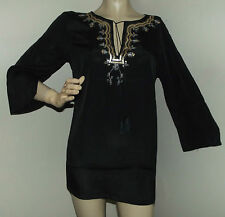 LONG BLACK V-NECK L TUNIC Gold Sequins SILVER EMBROIDERY Embellished shirt top