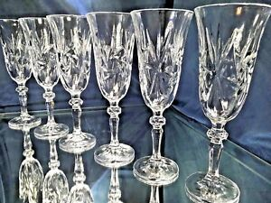 Champagne Flute Crystal Glass Set of 6 Wine Glass Water 5 oz Bohemia Crystal