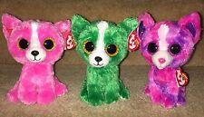 "Ty Beanie Boos PASHUN, DILL, DAKOTA Chihuahua Pack, MWMTs ""Tres Amigos Guapitos"""