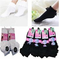 3 PAIRS GIRLS KIDS FOLD OVER FRILL LACE TOP TRAINER ANKLE LINER SCHOOL SOCKS