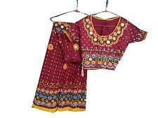 Om Vintage Indian 100% Cotton Kutuch Work Gujarati Lehenga Choli Red LP34