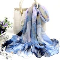 Fashion Women's Blue Lotus Flower Print Chiffon Scarf Wrap Shawl Stole Scarves