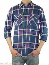 STEVEN ALAN Navy, Purple, & White Plaid Cotton Lumberjack Shirt MST53CT NWT $188
