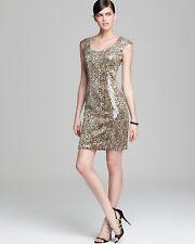 NWT SUE WONG Leopard Print Sequin Cocktail Dress Women's 8 Ret. $415