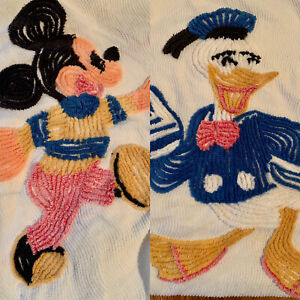 Vintage Disney Chenille Twin Blankets Bedspreads Throws Mickey Mouse Donald Duck