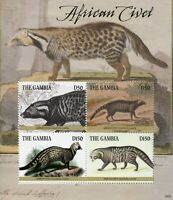 Gambia 2019 MNH African Civet 4v M/S Civets Fauna Wild Animals Stamps
