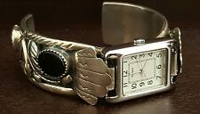 LARGE SIGNED NAVAJO STERLING SILVER BLACK ONYX Times new WATCH CUFF BRACELET