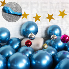 50 Blue Metallic Balloons Chrome Shiny Latex 12
