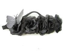Schwarze Rose Schmetterling Blumen Muster Kopfband Girlande Haar-krone Fest