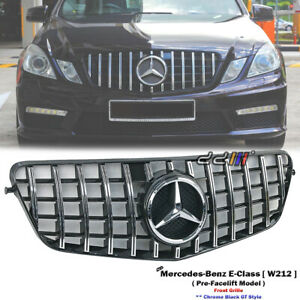 Front Chrome GT Grille For Mercedes Benz W212 E-Class E180 E200 E300 2009-2013'