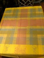 Garnier Thiebaut Cotton Jacquard Tablecloth 62 x 69 Made in France Yellow/Bright