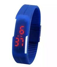 Navy Blue Digital Unisex Sports Watch With Time And Date On A Rubber Strap.