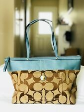 Authentic Coach Teal Leather /Canvas Signature Khaki Carryall Tote Shoulder Bag