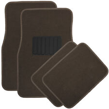 Car Floor Mats for Auto 4pc Carpet Semi Custom Fit Heavy Duty w/Heel Pad Brown