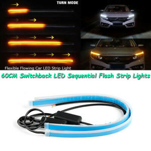 """24"""" White DRL LED Amber Sequential Flash Lights Strips For Headlights Universal"""