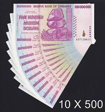 Zimbabwe 10 X 500 Million Dollars 2008 SERIES-AA Pick-82 UNC (Ship from CANADA)