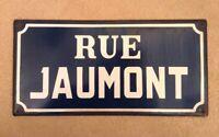 VINTAGE FRENCH ENAMEL STREET SIGN RUE JAUMONT PLAQUE METAL FRANCE BLUE WHITE
