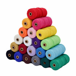 3mm*100m DIY Craft Braided Twisted Macrame Cord String Cotton Rope Multicoloured