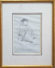 Original,ancien,dessin caricature femme,Lac du Bourget esprit BOTERO