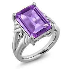 7.04 Ct Emerald Cut Purple Amethyst White Topaz 925 Sterling Silver Ring