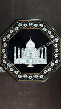 "18"" Black Marble Octagon Coffee Custom Table Top Taj Mahal Inlay Design H4098A"