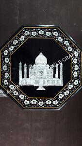 """15"""" Black Marble Coffee Cafe Table Top Taj Mahal Replica Inlay Furniture H4098"""
