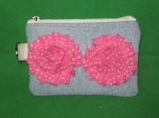 Denim Coin Purse w/ Pink Polka Dot Fabric  Flowers & Key Ring -Handmade