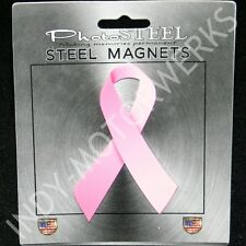 """Pink Ribbon Breast Cancer Awareness Metal With Magnets 4.5"""" By 2.75"""""""