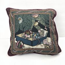 Vtg Mouse Christmas Night Tapestry Pillow Santa Layton Home Fashions