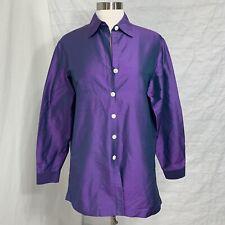 Coldwater Creek Women's M Top Tunic 100% Silk Purple Iridescent Satin Button #D