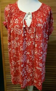 Ralph Lauren Womens 2X Red And White Paisley Short Sleeve Top