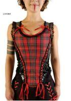 Red & Black Tartan Gloss PVC Braid Corset Alternative Goth Gothic Phaze Clothing