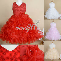 Flower Girl Princess Wedding Party Formal Ruffle Birthday Pageant Kid Gown Dress