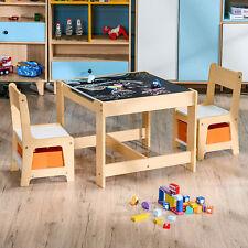 3tlg. Kindertisch mit 2 Stühlen Kindersitzgruppe Sitzgruppe Kindermöbel Maltisch