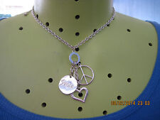 "BEAUTIFUL SILVER ""Y"" STYLE HEARTS,PEACE SIGN,LOVE CHARMS NECKLACE.. 6667"