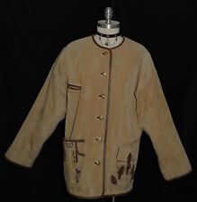 BROWN ~ LEATHER Austria Women Winter LEDERHOSEN POCKETS Coat JACKET/Eu 42/20 2XL