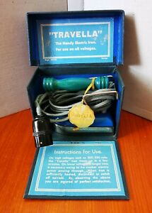Vintage 1930/1940s Travella Iron with Original Box and Tag