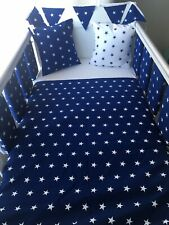 Handmade Cot Bedding Set Quilt Bumpers Bunting Cushion - Stars Navy