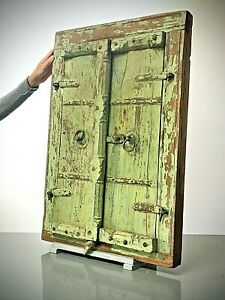 ANTIQUE INDIAN SHUTTERED WINDOW MIRROR. DISTRESSED JADE. ARCHITECTURAL SALVAGE.