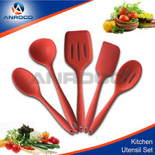 Silicone Kitchen Utensils - Durable, Non-Stick 5 pieces Red