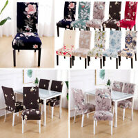 Removable Floral Printed Dining Room Chair Covers Wedding Stretch Seat Cover