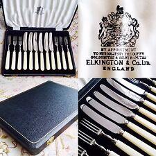 Superb Rare (1950s) English Elkington Steel Knives & Forks Set In Silk Lined Box