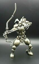 """THE ARCHER""  RARE Hand made Asian Art Sculpture - Bolts Screws Nuts Spark Plug"